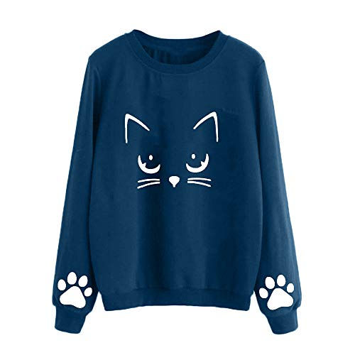 Sunhusing Ladies' Autumn Winter Cat Claw Print Sweater Long Sleeve Round Neck Short Top