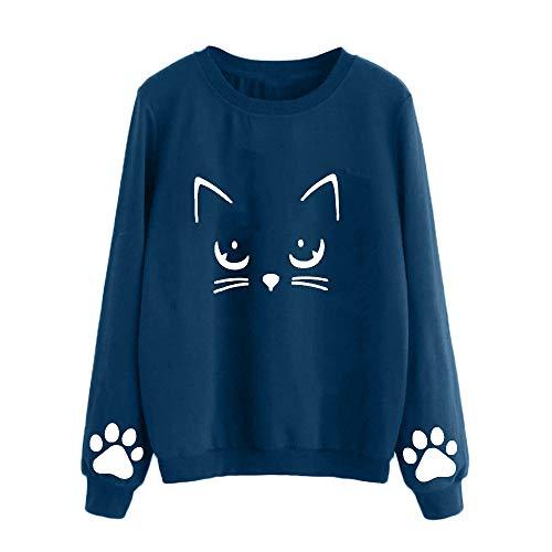 Blusa barata Invierno Aimee7 o Azul Camiseta Mujer largas Ropa Gato Oto Mangas waAYpAq
