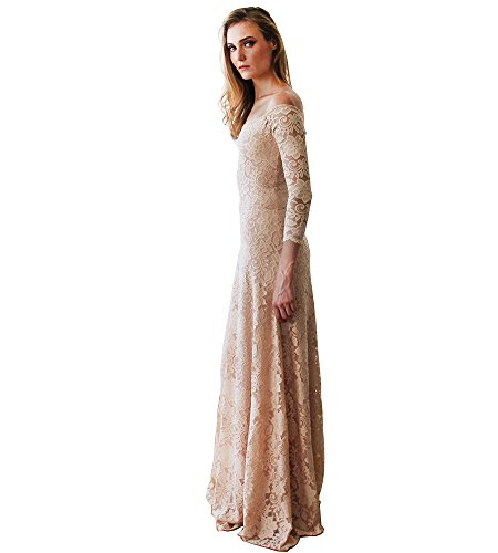 Cinderela Dress (BLUSH Bridesmaid Dresses, Off-The-Shoulder Floral Lace Long Sleeve Maxi Dress)