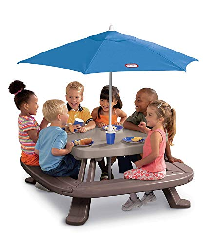 Folding 4 Sided Picnic Table Bench with Umbrella 8 Seats Outdoor Kids Furniture Children Play Deck Garden Store Hang ()