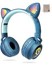 PowerLocus Buddy Draadloze On-Ear Koptelefoon voor Kinderen, Koptelefoons voor Telefoons, Tablets, PC, Lapton met Micro SD slot en 85db Limiet Gehoorbescherming (Blauw)