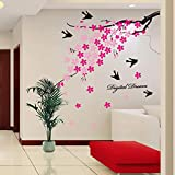 Spring Scenery Pink Peach Flower And Swallow Wall Stickers