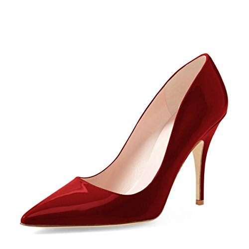 YDN Women Classic Mid Heel Pumps Pointy Toe Slip on Formal Stilettos Office Shoes 8 (Wine Red)