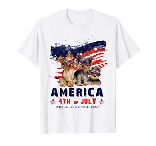 America Yorkie Dog USA American Flag 4th of July Gift TShirt