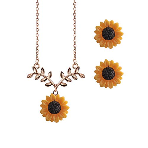 MIXIA Delicate Sunflower Pendant Necklace for Women Creative Yellow Enamel Daisy Flower Earring Jewelry Set Clothes Accessories 18