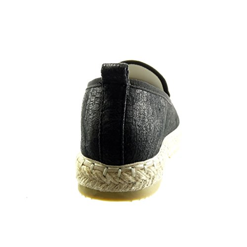 Angkorly - Chaussure Mode Espadrille Mocassin slip-on femme peau de serpent brillant Talon plat 2.5 CM - Noir