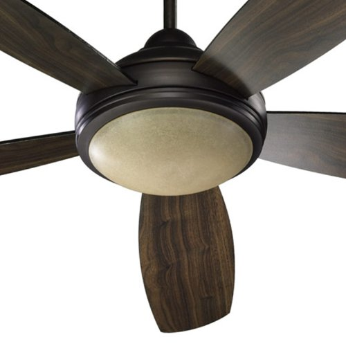 Quorum International 36525-986 Colton 52-Inch Ceiling Fan, Oiled Bronze Finish with Amber Scavo Glass and Reversible Teak/Walnut Blades