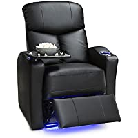 Seatcraft Raleigh Leather Gel Manual Home Theater Recliner with Space Saver Armrests and USB Charging, Black