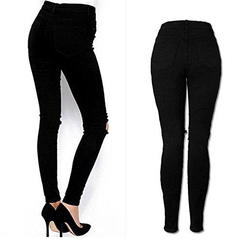 Crayon Long Femme Genou Sac Elargisseur Skinny Slim Frais Femme Pantalon Beautyjourney DChir Noir Jeans Jeans Coup Pantalon Pantalons Jean Pantalons Taille Haute Un RqOawOvF