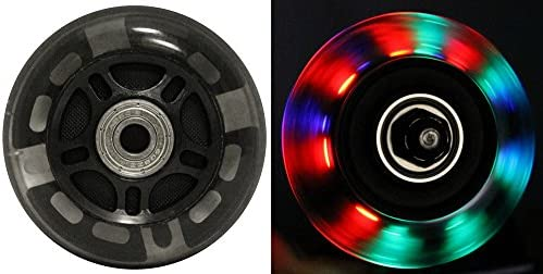 LED Inline Wheels 76mm 82a Roller Skate Ripstik Luggage Light Up 2-Pack w/ Bearings