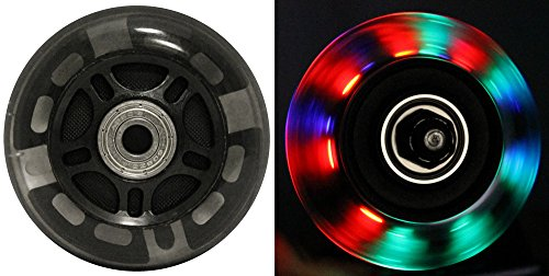 LED INLINE WHEELS 76mm 82a Skate Rollerblade Ripstik Luggage LIGHT UP 2-Pack w/ Bearings (Cart Multi Scooter)