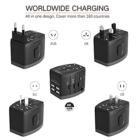 Adaptador de Corriente de Viaje Mundial/Cargador de Pared Internacional Adaptador de Enchufe de CA con 2.4A Smart Power USB y 3.0A USB Type-C para EE. ...