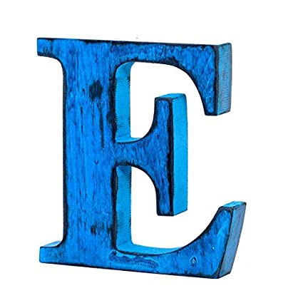 Shabby Chic Vintage Large 11 cm Wooden Letters Hand Finished Alphabets Free-Standing Or Wall Mounted Decor for Weddings Baby Names Signs Unique Personalised Gift. Blue, Letter D