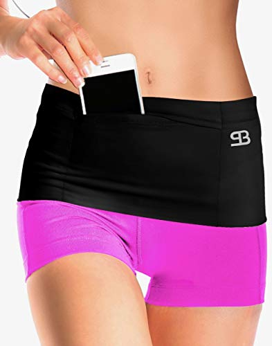 (Stashbandz Unisex Travel Money Belt, Running Belt, Fanny and Waist Pack, 4 Large Security Pockets and Zipper, Fits Phones Passport and More, Extra Wide Spandex, USA Made)