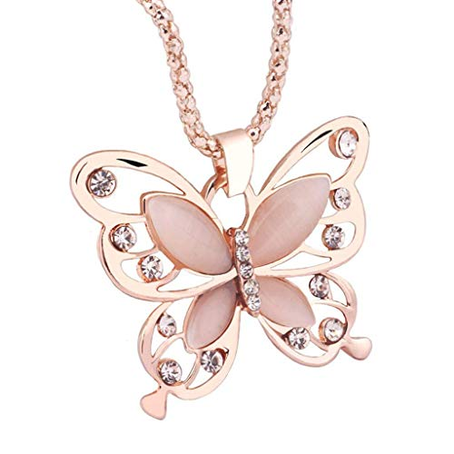 ( Orcbee  _Fashion Women Rose Gold Opal Butterfly Charm Pendant Long Chain Necklace Jewelry)
