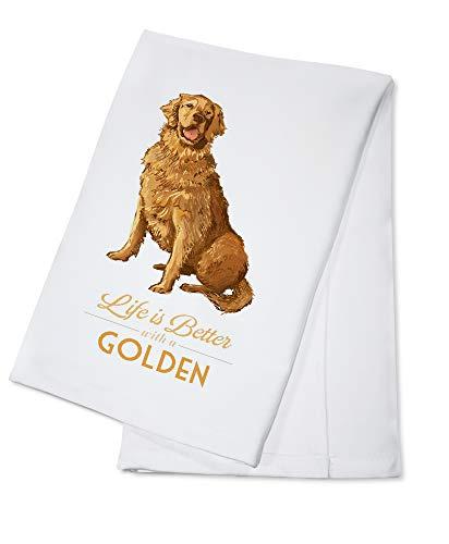 Golden Retriever - Life is Better (100% Cotton Kitchen Towel)