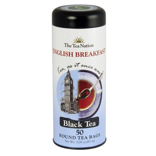 The Tea Nation English Breakfast Black Tea - Round Tea Bags - 50 Servings, 3.09 Ounce Tin