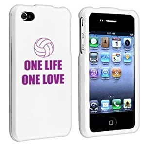 Apple iPhone 4 4S White Rubber Hard Case Snap on 2 piece Purple One Life One Love Volleyball