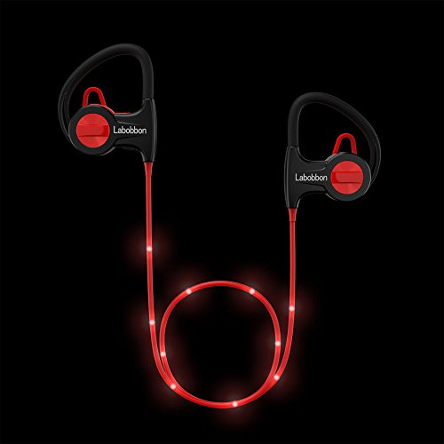 Black Bluetooth Headset - Labobbon LED Wireless Sports Headphones, Secure Fit Sweatproof Bluetooth Headset with Built-in Mic, Noise Cancelling Technology, Perfect for Workout, Running, Biking and More, Black & Red