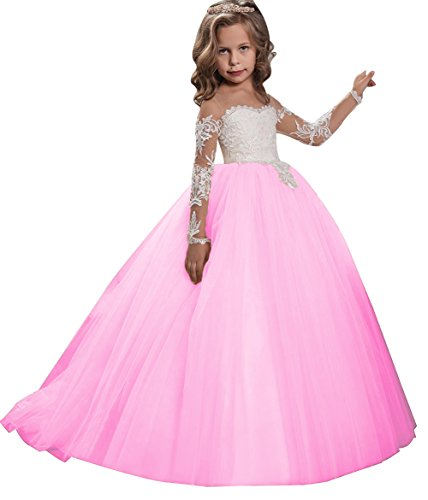 KSDN Flower Girls Dress Toddler Princess Appliques First Communion Ball Gown with Train(US 6 Peach)]()
