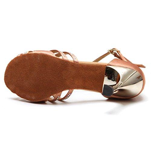 Bcln Mujeres Open Toe Sandals Latin Salsa Tango Heels Practice Ballroom Zapatos De Baile Con 3.3 Heel Tan