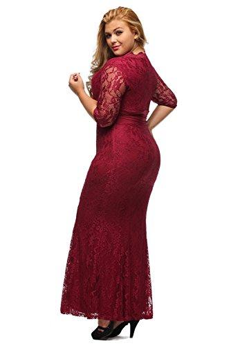 6a27d60e9048b Home Brands XAKALAKA XAKALAKA Women s V-neck 3 4 Sleeve Plus Size Lace  Wedding Cocktail Dress size 2X (Burgundy).   