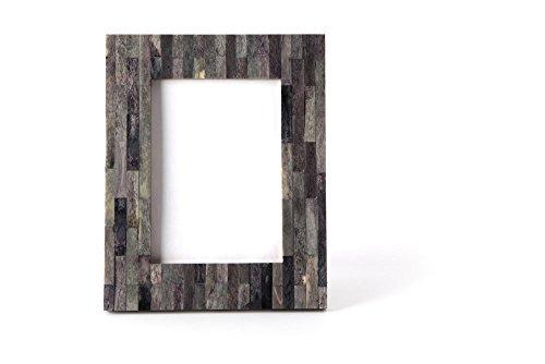 Carla Carstens Melange Grey Iridescent Bone 5 x 7 Photo Frame | Suede Glass | Tabletop Desktop Photo | Wedding Personal Personalized ()