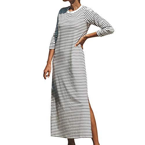 DEATU Ladies Dress, Teen Women Loose Stripe 3/4 Sleeve Calf Forking Boho Long Maxi Dresses(White,L) -