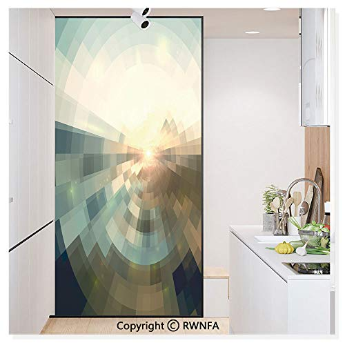 (Decorative Window Film,Blurred Squares with Conicentric Focus and Abstract Landscape Background Static Cling Glass Film,No Glue/Anti UV Window Paper for Bathroom,Office,Meeting Room,Bedroom,Redwood S)