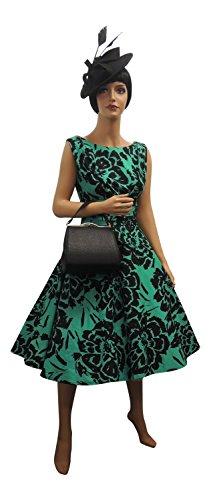 Viva-la-Rosa NEU rosa rosa 1940 s 50's Style grün schwarz Blumenmuster Rockabilly Partykleid TQ6Ax7HBz