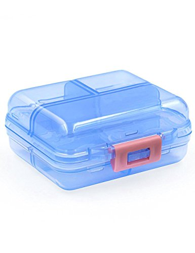 rtable Flip Tablet Box Holder with 7 Compartments - Mini Small Medicine Capsules Vitamin Foldable Organizer Container Storage for Travel Trip Pocket Purse -Translucence Blue ()