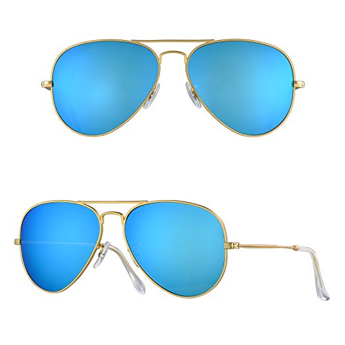 BNUS Corning natural glass New aviator Sunglasses Italy made with Polarized Choices (Frame: Matte Gold / Lens: Blue Flash, - K Sunglasses