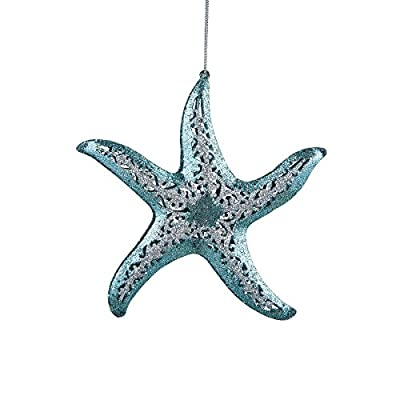 Starfish Christmas Ornament or Hanging Decor, Teal Blue Glitter Accent