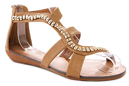 (Rebel Tan Gold Bead Chain Leatherette Strappy Gladiator Roman Low Wedge Sandal Shoes-5)
