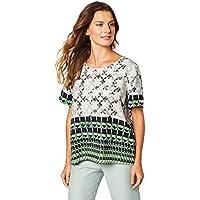 Camiseta reta estampada, Forum, Feminino, Off/azul/verde/preto, M
