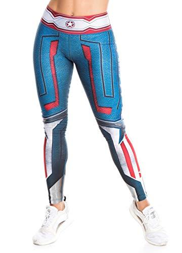 Fiber Superhero Crossfit Leggings Women Colombian Yoga Pants Compression Tights One Size (Captain America)