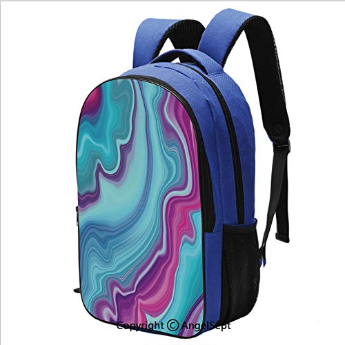 Backpack for Students Abstract Color Formation Wavy Aqua Pink Lines Agate Slab Mineral Layers Geographic for School and Travel,Aqua Pink ()