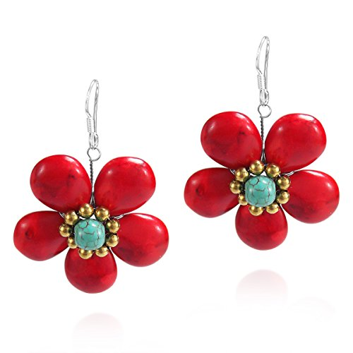(Dainty Reconstructed Red Coral Flower Brass Sterling Silver Earrings)