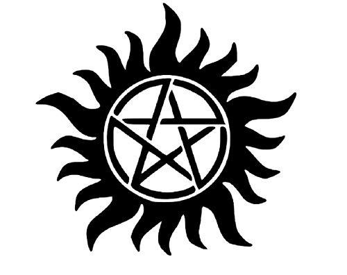 (Supernatural Star Sam Dean Winchester Black Vinyl Decal Bumper Computer Sticker Cling Scary Halloween)