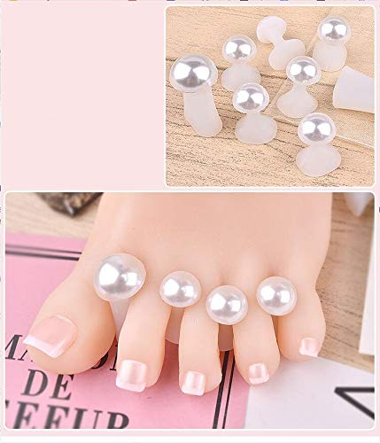 Toe separators - 8 Pcs/Pack Toe Separator Cute Soft Silicone Toes Lock Tools Heart Shaped Rhinestones Nail Art 2019 Japanese Style