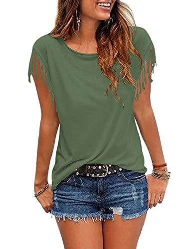 (Womens Tassel Short Sleeve Round Neck T-Shirt Top Casual Summer Tee Army Green L)