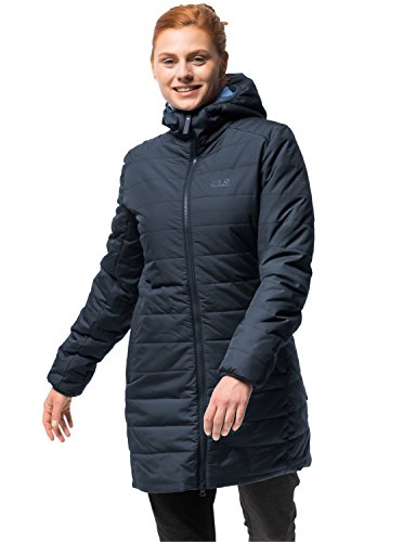 Jack Wolfskin Women's Maryland Windproof Insulated Long Jacket, Midnight Blue, - Jacket Midnight Taffeta