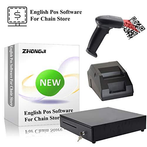ZHONGJI DIY POS Heavy Duty Cash Register & 58mm Thermal Receipt Printer & Barcode Scanner for Convenience Chain Stores