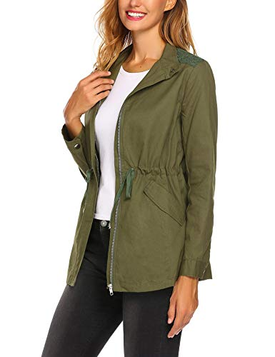 ELESOL Ladies Windbreaker Womens Military Anorak Safari Zip Jacket with Pockets