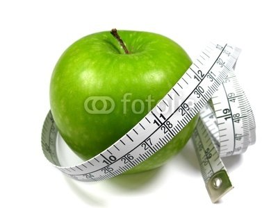 Food Wall Decals Beautiful Green Apple and Measuring Tape on White Background - 24 inches x 18 inches - Peel and Stick Removable Graphic