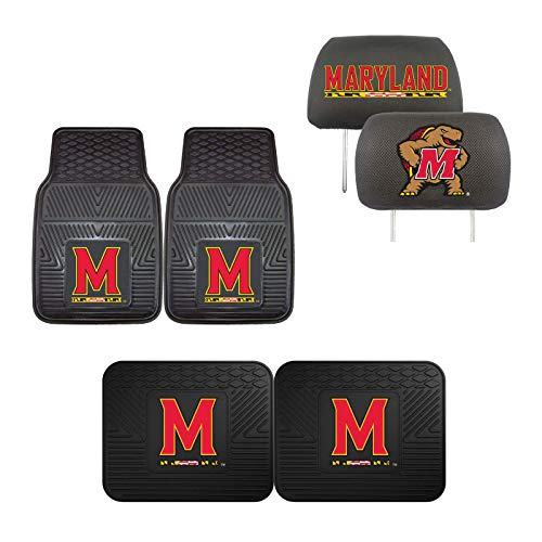 (Maryland Terrapins Car Truck Front Rear Heavy Duty Floor Mats Set & Head Rest)