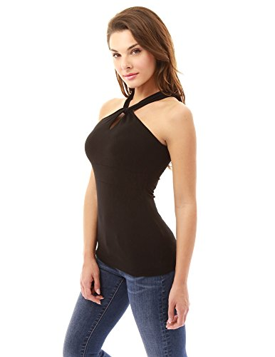 11346f5edb7574 PattyBoutik Women's Halter Twist Keyhole Empire Waist Blouse: Amazon.ca:  Clothing & Accessories