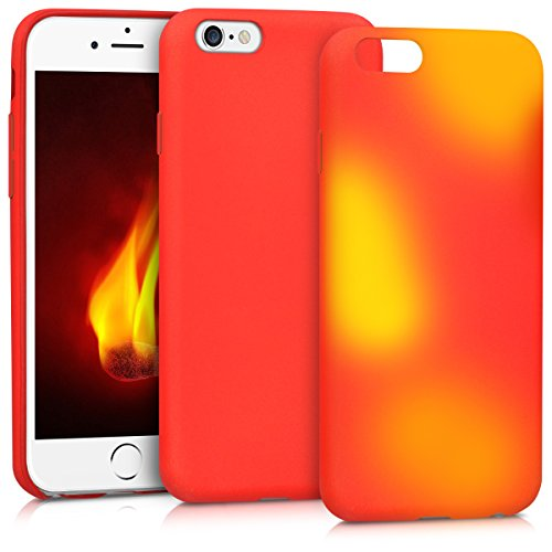 kwmobile Thermal Sensor Case for Apple iPhone 6 / 6S - Color Changing Fluorescent TPU Heat Sensitive Cover red Yellow