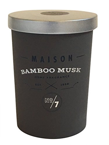 Maison Bamboo Musk Scented Candles - All-Natural Soy Wax Aromatherapy Stress Relief Candles with Self-Trimming Wick, Cylinder Jar & Silver Lid - Home Fragrance Candle Gifts (5.25 -