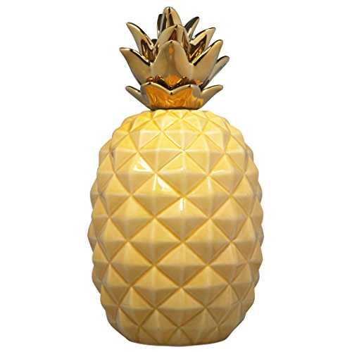 "9"" Elegant Ceramic Pineapple Centerpiece Decor Yellow with Gold Metallic Crown Figurine Modern Coffee Desk Table Room Kitchen Home Decorative Accessories"